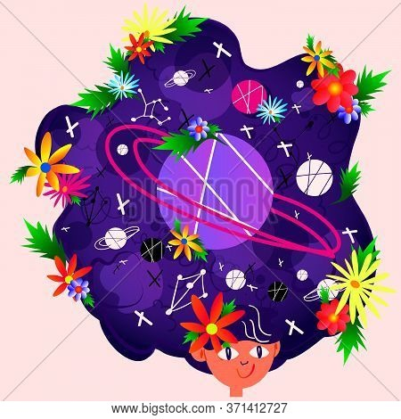 Stock Vector Illustration Of A Girl With A Whole Universe In Her Head. The Concept Of Creativity, De