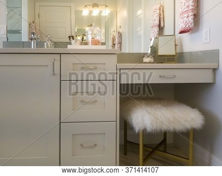 Vanity Unit With Cabinets Sink Mirror And Faux Fur Stool Inside Bathroom Of Home