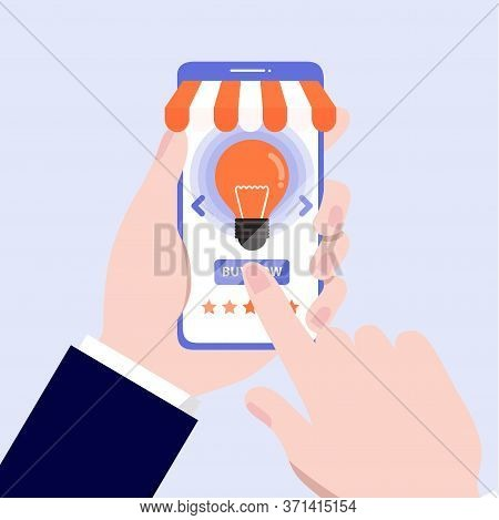 Sall  Idea. Man Holding Mobile Phone With Buy Idea Concepts.vector, Illustration, Eps, Flat Design.