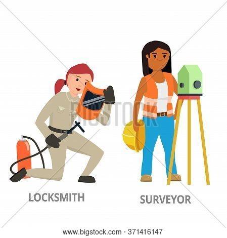Women Hard Working In Non-traditional Man Roles, Profession: Locksmith, Surveyor. Feminist Girl, Wom