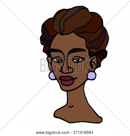 Head Of An African Curly Young Cute Brunette Girl, Avatar, Color Vector Illustration With Black Cont