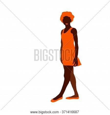 Brown Silhouette Of A Dark Skinned Young Sporty Girl With Red Hair, In An Orange Light Summer Dress