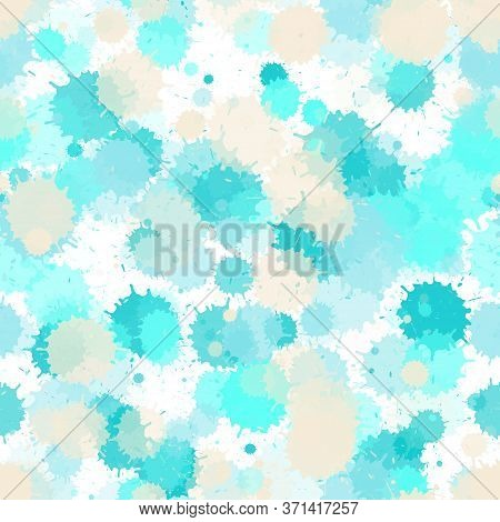 Watercolor Paint Transparent Stains Vector Seamless Grunge Background. Modern Ink Splatter, Spray Bl