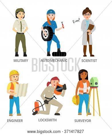 Women Hard Working In Non-traditional Man Roles, Profession: Military, Mechanic, Scientist, Locksmit