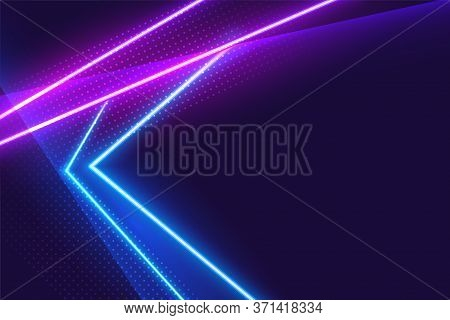 Blue And Purple Neon Lights Glowing Background