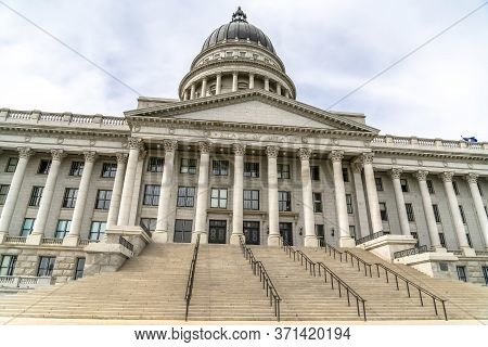 Utah State Capital Building With Stairs Leading To The Pedimented Entrance