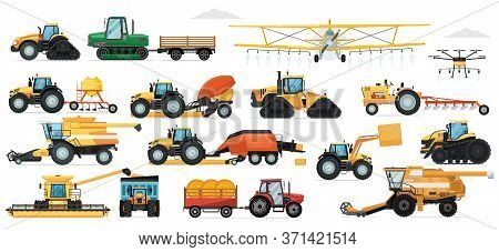 Agricultural Machinery Set. Vehicle For Field Farm Work. Isolated Industrial Tractor, Harvester, Com