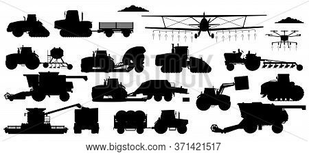 Farming Machinery Set. Vehicle Silhouettes For Field Farming Work. Isolated Industrial Tractor, Harv