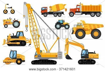 Construction Vehicle Set. Heavy Machines For Building Work. Isolated Crane, Excavator, Tractor, Bull