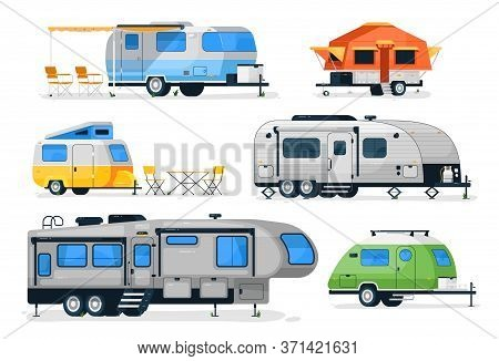 Camping Trailers And Rv Car. Vector Motorhome, Camper Caravan And House Truck Icon Isolated On White