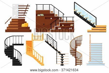 Staircase Vector. Interior Wooden Stairs, Store Escalator, Spiral Staircase, Floor To Floor Metal La