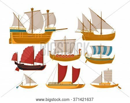 Sail Boat Vector. Isolated Sailboat Set With Sea Vessel And Ocean Ship Side View. Vintage Wooden Sai