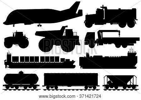 Freight Shipping Silhouette. Cargo Shipping Vehicle Icon. Isolated Industrial Aircraft, Dump, Crane