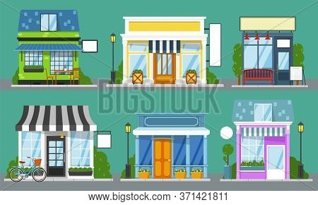 Shop Front Set. Isolated Outdoor Store Facades With Blank Sign Mockup Templates. City Street Cute Bu