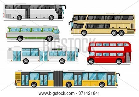 Passenger Bus Set. Isolated Public City, Coach, Tour, Double-decker Bus Transport Icons. Bus Vehicle