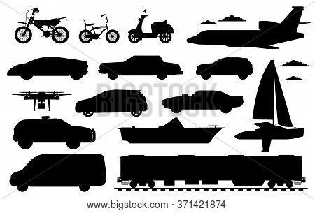 Passenger Transportation Set. Public, Private Passenger Vehicle Silhouettes. Isolated Car, Train, Dr