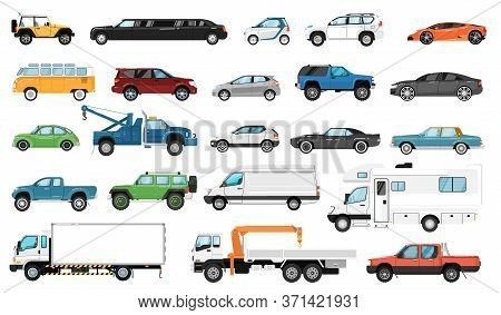 Car Vector Side View. Bus, Motorhome, Hatchback, Van, Tow Truck, Sedan, Pickup, Taxi, Limousine, Suv