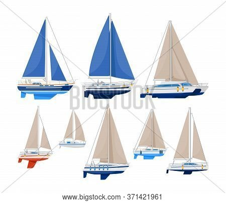 Sail Vessel. Modern Sailboat Vector Illustration. Sea Ship And Ocean Vessel With Sail On White Backg