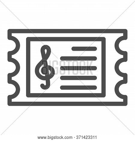 Music Concert Ticket Line Icon, Music Festival Concept, Invitation Card Sign On White Background, Co
