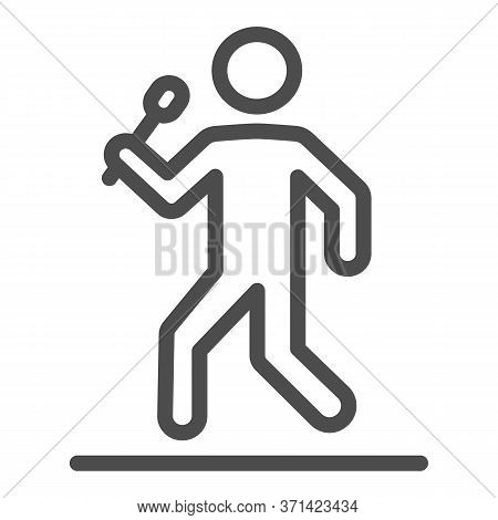 Singer Line Icon, Music Festival Concept, Man With Microphone Sign On White Background, Star Singer