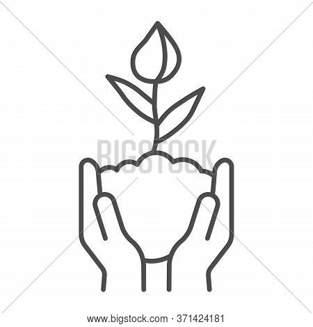 Human Hands Hold Closed Tulip Bud In Soil Thin Line Icon, Spring Concept, Flower Bud Sign On White B