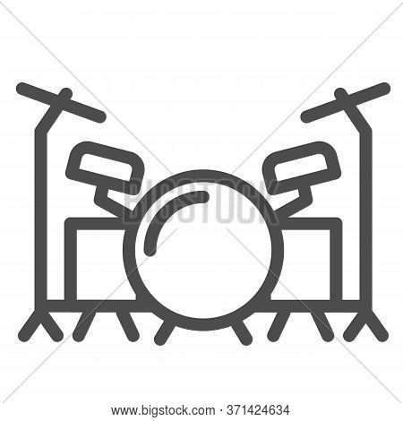 Drums Line Icon, Music Festival Concept, Drum Set Sign On White Background, Drum Kit Icon In Outline