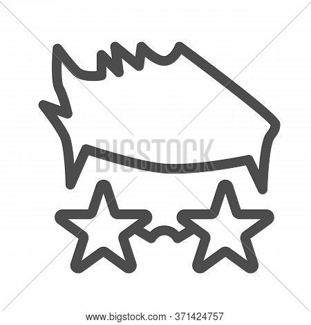 Person In Star Glasses Line Icon, Music Festival Concept, Star Singer In Glasses Sign On White Backg