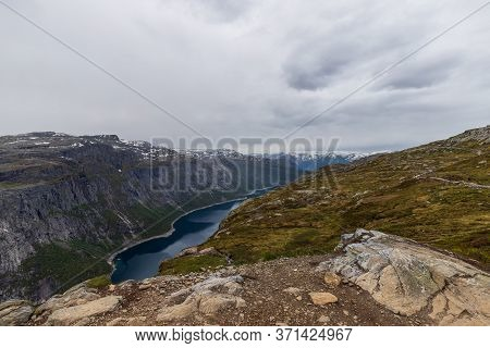 Ringedalsvatnet Blue Lake In Vestland County, Norway. The 7 Square Kilometer Lake Sits Just East Of