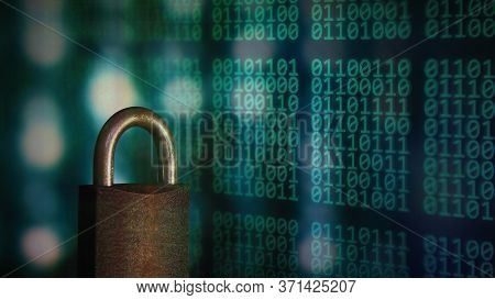 Password Protected. Metal Padlock Over Multiple Exposure Digital Matrix Language Binary Code. Data P