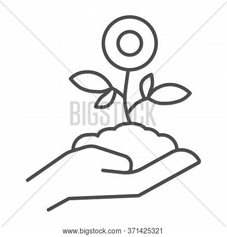 Flower Plant In Hand Thin Line Icon, Spring Concept, Flower In Soil On Human Hand Sign On White Back