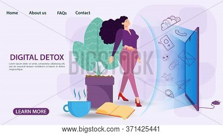 Digital Detoxification, Banner Concept, For Web And Mobile Sites, Woman Protected By A Shield, Aura,