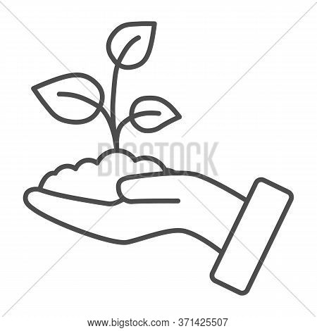 Sprout In A Hand Thin Line Icon, Save Nature Concept, Sprout Symbol On White Background, Young Growt