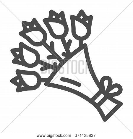 Bouquet Of Flowers Line Icon, Floral Concept, Flowers Bunch Sign On White Background, Rose Bouquet I