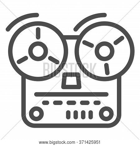 Tape Recorder Line Icon, Music Concept, Old Reel Tape Recorder Sign On White Background, Open Reel T