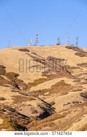 Group Of Communications Towers On A Hilltop