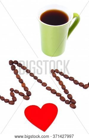 Electrocardiogram Line Of Roasted Coffee Grains And Cup Of Coffee, Ecg Heart Rhythm, Medicine And He