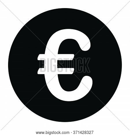 Eur Euro Symbol Sign. Black Illustration Isolated On A White Background. Eps Vector