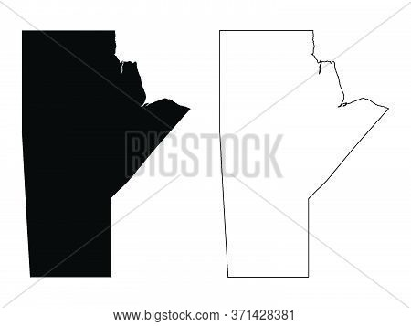 Manitoba Province And Territory Of Canada. Black Illustration And Outline. Isolated On A White Backg