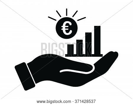 Palm Out Eur Growth Bar Chart. Black Illustration Isolated On A White Background. Eps Vector