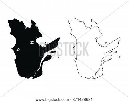 Quebec Province And Territory Of Canada. Black Illustration And Outline. Isolated On A White Backgro