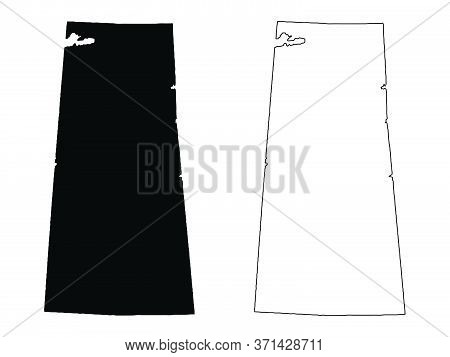 Saskatchewan Province And Territory Of Canada Map. Black Illustration And Outline. Isolated On A Whi