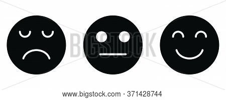 Smiley Sad Neutral Face Feedback Satisfaction Facial Emotion Emoji. Black Illustration Isolated On A