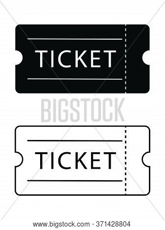 Admission Ticket. Black Solid And Outline Isolated On A White Background. Eps Vector