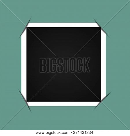 Curved Frame Photo. Landscape Flat Picture With A White Edge. Background Picture In The Form Of A Bl