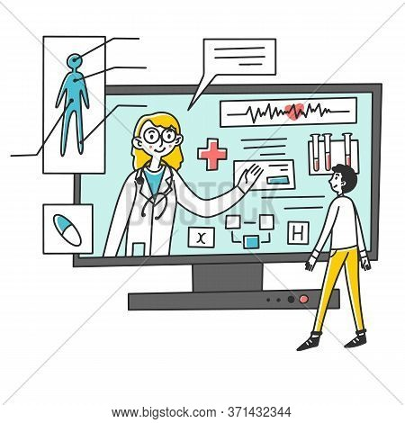 Man Receiving Medical Consultation Online Illustration. Female Doctor Consulting And Recommending Tr