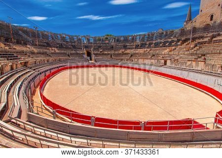 Arles, France - June 19 - 2018: The Interior Of The Colosseum Or Coliseum In Arles, France