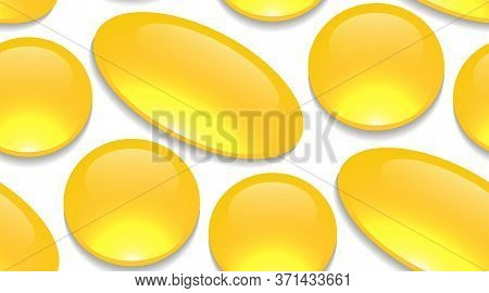 Seamless Cartoon Pattern With Medicine Pills And Drugs On A White Background. Capsules With Fish Oil