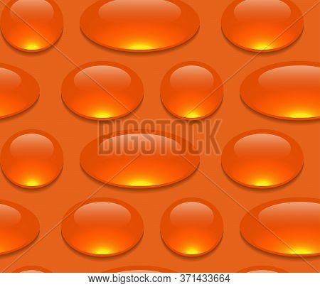 Seamless Cartoon Pattern With Medicine Pills And Drugs In Row On Orange Background. Capsules With Fi