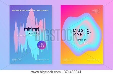 Music Fest Set. Modern Electro Club Magazine Layout. Electronic Sound. Night Dance Lifestyle Holiday