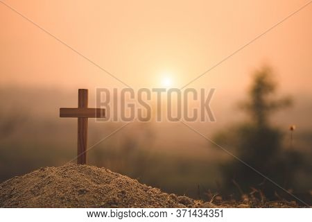 Crucifixion Of Jesus Christ. Christian Wooden Cross At Sunset. Jesus Christ Cross. Easter, Resurrect